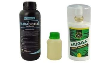 Innowacyjny preparat na komary Ultra Brutal™ 1000 ml + utrwalacz do oprysku Superam 10AL 250 ml + Mugga DEET spray 75 ml