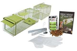Jednostronna zielona żywołapka KM1 z komorą na gryzonie, szczury, łasice, kuny