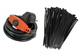 Kabel grzewczy 2m z energooszczędnym termostatem 32 W  + opaski kablowe 100 szt. Gratis!
