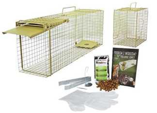 Pułapka na szczury, drobne gryzonie, łasice, kuny – jednostronna żywołapka zielona KM2 z  komorą