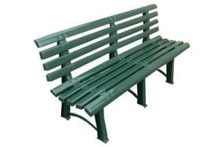 Solidna plastikowa ławka ogrodowa ATENA z oparciem - zielona