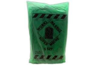 Worki foliowe 240 litrów – ekstra mocne worki na gruz, skoszoną trawę, liście - 5 sztuk