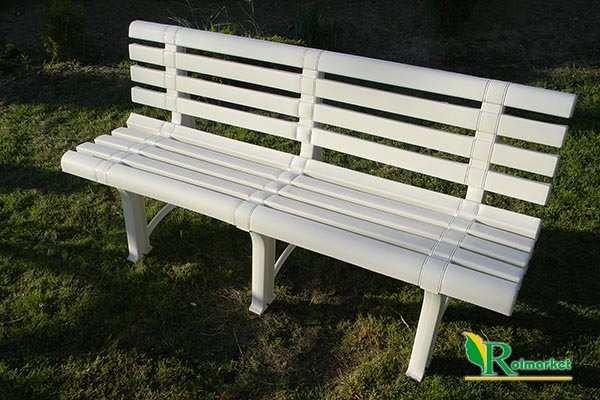 Meble Ogrodowe Z Siatki Metalowej : plastikowa ławka ogrodowa ATENA z oparciem  biała  Meble ogrodowe
