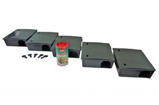Duży karmnik deratyzacyjny na szczury i myszy BOX 5szt + 5szt kluczyków + trutka na myszy i szczury Rat Killer 250g