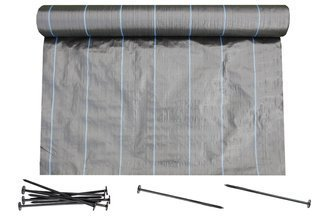 Agrotkanina czarna 1,1x50m (90g) + szpilki mocujące 19 cm (50 szt)