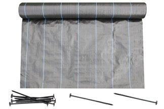 Agrotkanina czarna 1,1x50m 90g + szpilki mocujące 19cm 50szt