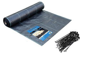 Agrotkanina czarna 1,6x50m (70g) + szpilki mocujące 19 cm (50 szt)