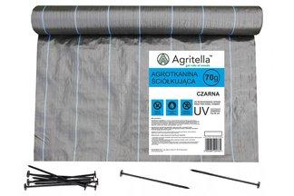 Agrotkanina czarna 3,2x25m 70g + szpilki mocujące 19cm 50szt