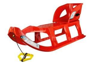 Duże plastikowe sanki dla dzieci Tatra czerwone z linką i rączką + siedzisko Seat1