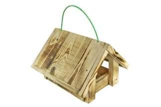 Karmnik dla ptaków dwuspadowy wiszący - z drewna palonego