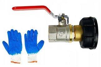"""Metalowy zawór 1"""" z plastikową nakrętką do zbiorników typu mauser 1000l IBC NZA1C+ rękawice GRATIS!"""
