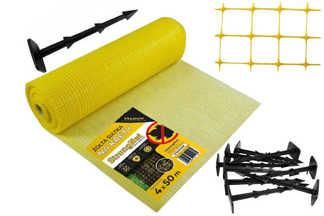 Najmocniejsza siatka przeciw kretom StrongNet - włoska (siatka na krety), oczko 15x19, kolor żółty 4x50m + kołki mocujące GRATIS