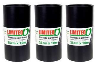Obrzeże trawnikowe ogrodowe czarne, proste 25cm x 30m LIMITEO