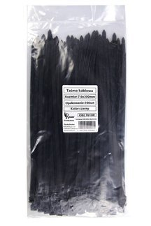 Opaski kablowe czarne 7,6x300mm (100 szt.)