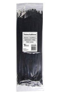 Opaski zaciskowe kablowe czarne 3,6x300mm (100 szt.)