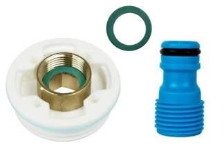 Plastikowa nakrętka (korek, zakrętka) z adapterem GW 1/2'' do beczek BGW1/2 + przyłacze do węża ogrodowego GRATIS