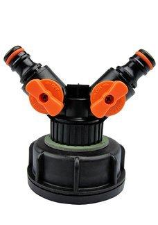 Plastikowa nakrętka z rozdzielaczem, dwójnikiem do zbiorników typu mauser 1000L IBC, fi 61 mm NDW-U