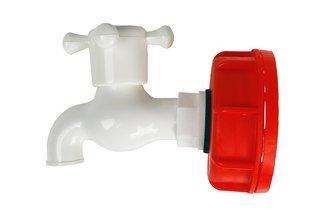Plastikowy zawór (kran) czerpalny + nakrętka do zbiorników IBC 1/2''