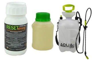 Profesjonalny preparat Reset Strong 250 ml na muchy, komary, pluskwy + utrwalacz do oprysku  250 ml + Opryskiwacz ciśnieniowy Sprayer 4l