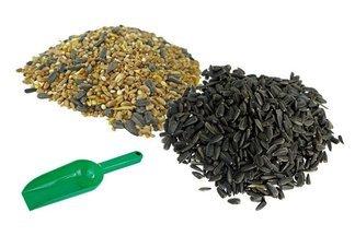 Ptasia Biesiada™ Karma ziarno dla ptaków dzikich na zimę Standard + słonecznik czarny + łopatka 250g - zestaw 30kg