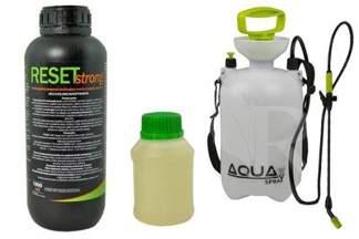 Reset Strong 1000 ml – profesjonalny preparat na muchy, komary, pluskwy + utrwalacz do oprysku 250 ml + Opryskiwacz ciśnieniowy 5l