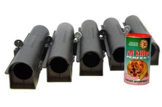 Skuteczna trutka na myszy i szczury Ratkiller 250g + karmnik deratyzacyjny tunel (5 sztuk) - zestaw