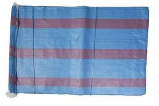 Worek polipropylenowy 25kg niebieski z 3 czerwonymi paskami, 50x80cm (100 szt.)