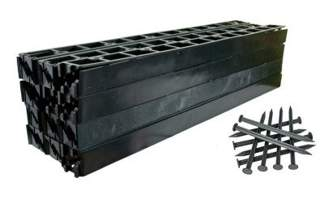 Zestaw obrzeży ogrodowych (trawnikowych) 50 szt. R8 58mm x 1m – kolor czarny + 150 kotew