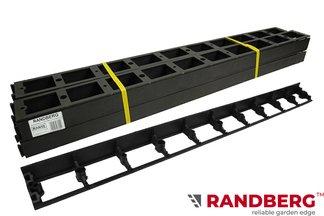 Zestaw obrzeży ogrodowych (trawnikowych) 8 szt. R8 58mm x 1m – kolor czarny + 20 kotew