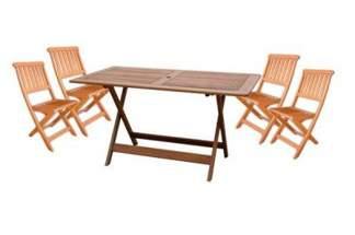 Zestaw składanych mebli ogrodowych z drewna egzotycznego (stół + 4 krzesła)