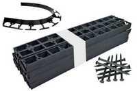 Zestaw obrzeży ogrodowych (trawnikowych) 50 szt. Bordeo R5 45mm x 1m – kolor czarny + 150 kotew