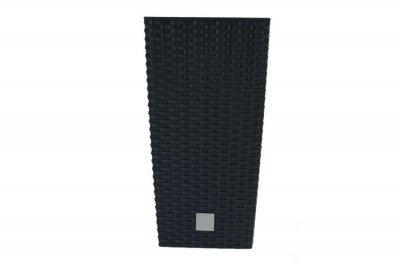 Doniczka dekoracyjna DRTS 200 z wkładem wewnętrznym o strukturze ratanu - kolor antracyt, wysokość 37,5 cm