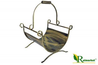 Duży stylowy, metalowy kosz na drewno kominkowe K3
