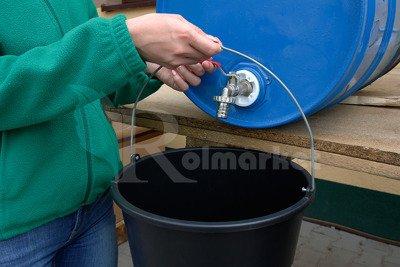 """Metalowy kran czerpalny 3/4"""" z plastikową nakrętką do beczek NKB3/4 + przyłącze do węża ogrodowego GRATIS"""